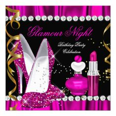 Glitter Glamour Night Deep Pink Gold Black Party 2 Custom Invites