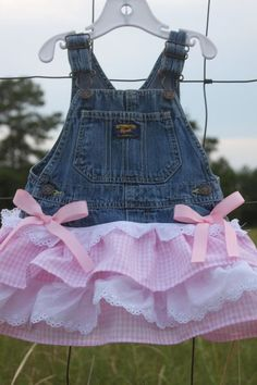 Baby Girl Stuff: Overall Dress, Denim Tutu, Overall tutu, pink and . Cowgirl Dresses, Western Dresses, Little Girl Dresses, Girls Dresses, Overall Tutu, Kids Outfits, Cute Outfits, Pink And White Dress, Denim Ideas