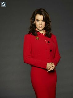 "Scandal - Season 3 Bellamy Young as Mellie Grant - why is Mellie usually in power colors like red, just like Olivia is in white (to go with her being a ""good guy""?)..."