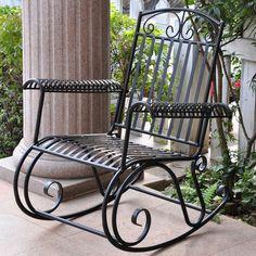 1f94466eceffe International Caravan Tropico Wrought Iron Patio Rocking Chair