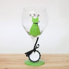 lime green #bridesmaid dress painted #wine glass $20 - FREE personalization