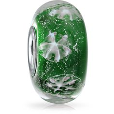 Silver Emerald Color Murano Glass Foil Snowflake Bead Fits Pandora ($9.99) ❤ liked on Polyvore featuring jewelry, pendants, beads & charms glass beads, green, silver jewelry, christmas charms, holiday jewelry, silver charms and silver christmas charms