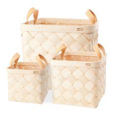 Verso Lastu Birch Basket With Natural Leather Handles - Huset Shop - 2