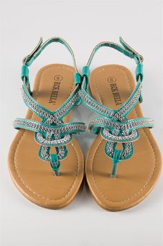 I want!  and very cheap....Woven Jeweled Thong Sandal - Turquoise from Sandals at Lucky 21 Lucky 21