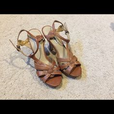 Steve Madden strappy heels Steve Madden heels with clasp closure on strap, light brown leather. Worn once! Steve Madden Shoes Heels