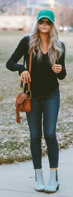 Cute blue cap + Cara Loren + Pastel blue Chelsea boots + Denim jeans, Stylish spring look.  Shoes: Hush Puppies, Top/Jeans: Shopbop.