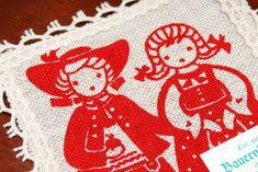 Idee Kaffee coffee handprinted farmers linen coaster red by Aerosvar
