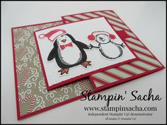 Stampin' Sacha - Stampin' Up! - Annual Catalogue 2016-2017 - Autumn-Winter Catalogue 2016 - Snow Place - Snow Friends Framelits - Softly Falling Embossing Folder - Candy Cane Lane DSP - Whisper White - Real Red - Crumb Cake - Basic Black - Tri-Fold Card - Christmas - #stampin_sacha - #stampinup