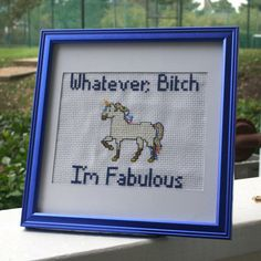 Unicorn Irreverent Cross Stitch Framed by AlloftheThingsStore