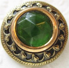 Exceptional LARGE Antique~ Vtg Gay 90's Metal BUTTON w/ Emerald GLASS Jewel