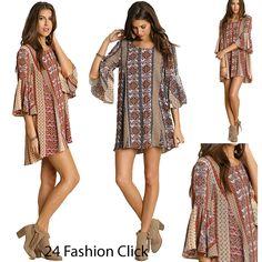 Umgee USA Womens Boho Print  Bell Sleeve Back V-Neck Cutout Crossed Strap Dress  #UmgeeUSA #Tunic #Casual