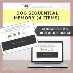 This digitally interactive resource is designed for use with Google Slides. This resource contains 10 slides in total.The student must remember the dog sequence, so that they can drag the dog that is missing in the sequence to the correct space once the sequence is covered up.