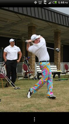 """Josh """"Superman"""" Crews of the Callaway X Hot Long Drive team, currently 5th longest hitter in the world. Loudmouth Golf pants."""
