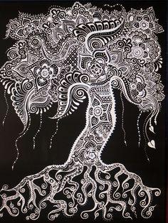 Tree Canvas Henna Print