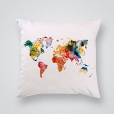 decorative pillow map multicolored print giclee art prints printed mugs and t shirts wall decals and mini decals for sale shop now