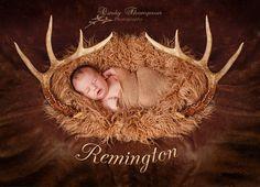 Newborn, Newborn boy, deer hunting, deer horns, Cindy Thompson Photography,