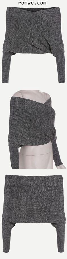 Grey Marled Off The Shoulder Cross Wrap Sweater