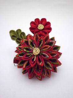Exotic red tropical colored chrysanthemum kanzashi by JagataraArt