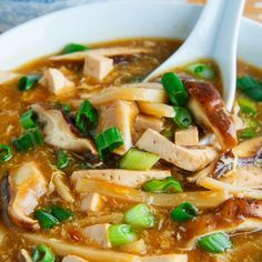 Quick and Easy Chinese Hot and Sour Soup Recipe Soups with chicken broth, shitake mushroom, bamboo shoots, firm tofu, garlic, ginger, balsamic vinegar, rice vinegar, chili sauce, soy sauce, brown sugar, corn starch, cold water, eggs, oil, white pepper, green onions