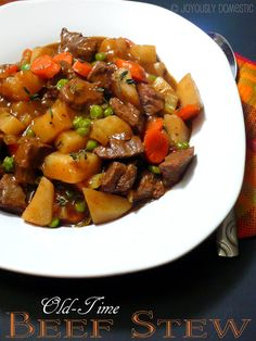 """PD's Old-Time Cast Iron Dutch Oven Beef Stew _ You're probably wondering what the """"PD"""" means. That would be referring to Paula Deen. I took her recipe for Old-Time Beef Stew & adapted it to my family's preferences. So, grab your Dutch oven & get to work. Meat Recipes, Slow Cooker Recipes, Crockpot Recipes, Cooking Recipes, Beef Stew Recipes, Homemade Beef Stew, Cookbook Recipes, Free Recipes, Healthy Recipes"""