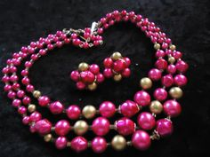 SALE Vintage Pink Gold 3 Strand Beaded Necklace by MartiniMermaid