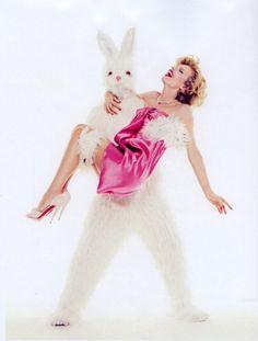 """Eva Herzigova with Giant Bunny"" by Sofia Sanchez and Mauro Mongiello http://graindemusc.blogspot.co.uk/2012/05/my-top-10-of-spring-2012-scents-that.html"