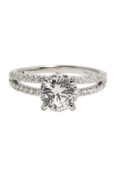 """Brides.com: . """"Nicole"""" bridal ring in 18K white gold, $4,100 (center stone not included), JudeFrances"""