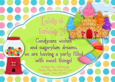 Printable Candyland Birthday, Printable Invitation, Girl party invites - Candyland Party. $15.00, via Etsy.