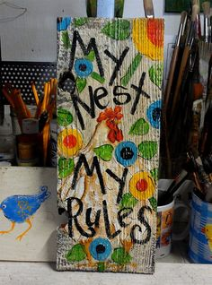 Funky Chicken Flowers Sign My Nest by cackleblossums on Etsy,