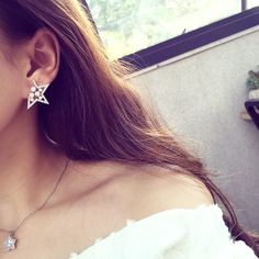ER235  2015 Korean Fashion Ladies Hollow Notch Five-pointed star Imitation Pearl Stud Earrings For Women Jewelry