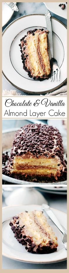 Gluten-Free Almond Layer Cake filled with creamy, luscious layers of Whipped Vanilla and Chocolate Frosting.