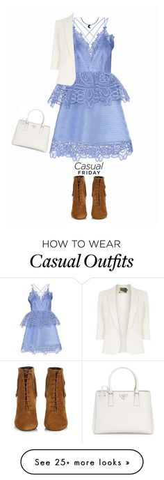"""Casual Friday"" by angelinapomaro on Polyvore featuring self-portrait, Yves Saint Laurent, Jolie Moi, Prada, casualoutfit and CasualElegance"