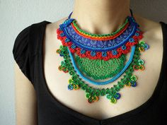 colorful freeform crochet bib necklace -  statement necklace with red cornflower blue and green beaded crochet flowers - RESERVED by irregularexpressions