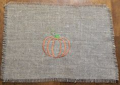 Burlap Pumpkin Embroidered Placemat great for fall decorating in that log cabin or any other country rustic decor with fringe by LoveIndianaOutdoors, $7.00