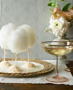 Cotton Candy Lollipops...LOVE this idea for a reception goody!