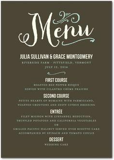 A gorgeous wedding menu design.