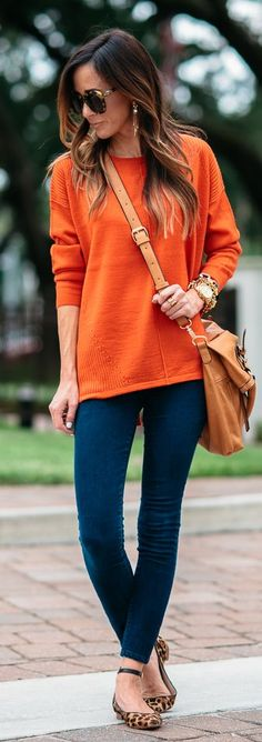 Bright Orange Sweater Navy Denim Skinnies Leopard Ankle Strap Flats by Sequins & Things
