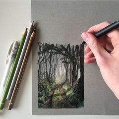 """A personal favourite from 2016 I'll be sharing my """"bestnine"""" soon.   #art #drawing #pen #sketch #illustration #forest #countryside #england"""