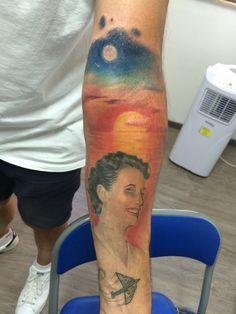 Tattoo ritratto portarti tramonto
