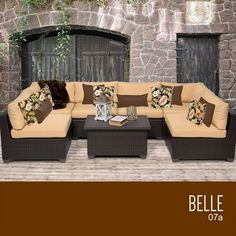 Outdoor Décor  TKC Belle 7 Piece Outdoor Wicker Patio Furniture Set *** This is an Amazon Associate's Pin. Click the VISIT button to enter the website.