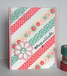 Tutorial - washi tape cards: Stripes on the diagonal To create straight lines and equal spacing on the diagonal, choose the desired angle of stripes, mark with a pencil then tape tilted cardstock to grid paper so that the pencil marks appear horizontally aligned with horizontal lines on grid. I started adhering tape at the top, stamped the sentiment then continued with the stripes. I used a marker to trace over the covered portion of the letter g.