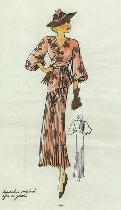 Robe de jour, Croquis élégants, 1935