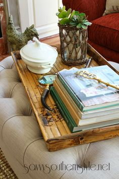 Savvy Southern Style: Easy Coffee Table/Ottoman Styling Ideas