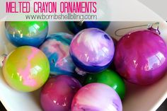 Melted Crayon Ornaments - A fun and CHEAP family craft for the holidays!