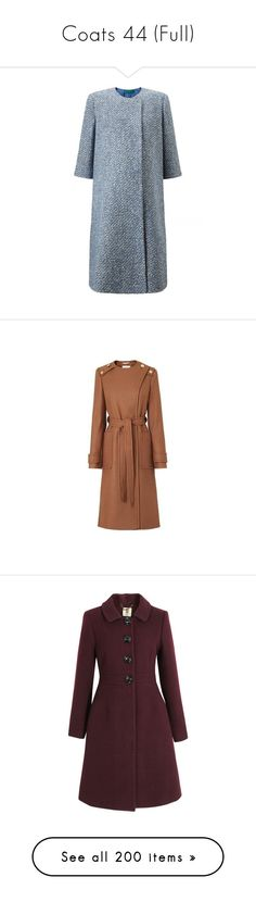 """Coats 44 (Full)"" by middletondonna ❤ liked on Polyvore featuring outerwear, coats, blue coat, boucle coat, emilia wickstead coat, emilia wickstead, brown coat, military style trench coat, brown trench coat and military-style coats"