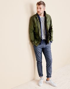 When the winter thaws, you can still look rugged thanks to our J.Crew men's Wallace & Barnes lightweight military jacket and new indigo-dyed stretch chinos.
