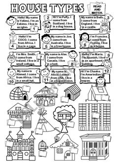 Levels 2 & 3 - Read & Match. Focus on ´House Types´ vocab. Recycling countries and nationalities. (e.g. 1 - Hello! My name is Yotimo. I'm an Eskimo. I live in an igloo. 7 - I'm Mrs. Smith. I come from Ireland. I live in a small cottage. ) I was asked to produce this Ws by cerix64 and I really enjoyed doing it. I hope you find it useful, too. Kids English, English Class, Teaching English, English Grammar, Vocabulary Worksheets, Grammar And Vocabulary, Reflective Teaching, Esl, English Exercises