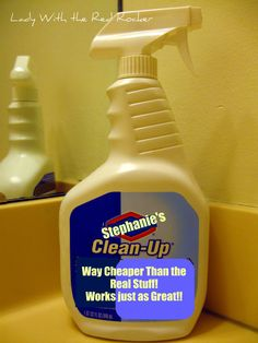 DIY Clorox Clean-up    1 Empty Bottle of Clorox Cleanup or an empty (1 quart size) Plastic Spray Bottle  ¼ Cup Bleach  1 Teaspoon Laundry Detergent  Fill the rest of the bottle with Water and Shake!
