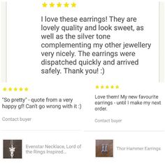 Day 13 of #marchmeetthemaker - feedback. I love getting feedback from people. It puts a smile on my face hearing how happy they are with their jewellery! The top picture is feedback from my friend @laura_h131 when she bought a pair of crescent moon earrings from my shop. #feedback #customerfeedback #instagramchallenge #geekregalia #geekjewellery #etsyseller #etsyshop #smallbusiness