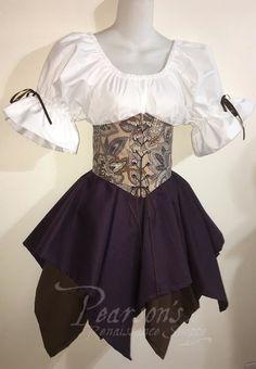 """Limited Run"" Plum Fairy Corset Set - renaissance clothing, medieval, costume"